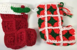 """Crocheted Granny Square Christmas Stocking Red & Green Yarn Table 16.5"""" ... - $17.81"""