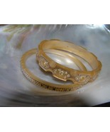 Vintage Lot of 2 Champagne Scalloped Edge Plastic with Clear Rhinestone ... - $27.94