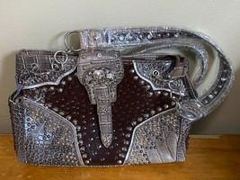Brown Faux Croc Western Cowgirl Rhinestone Studded Silver Buckle PURSE B... - $48.37