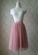 Wedding Bridesmaid Knee Length Tulle Skirt High Waist Rose Pink Midi Tulle Skirt