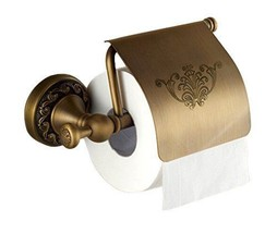 Toilet Paper Roll Rail Holder with Cover, Brass... - $50.40