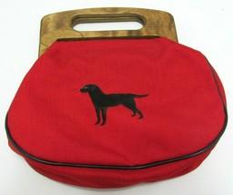 Bermuda Bag Wood Handles Red Black Lab Labrador Dog Clutch Purse Vintage - $52.44