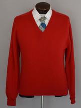 Vintage 80s Red Luxury Cashmere V-Neck Sweater Size Medium to Large - $99.99