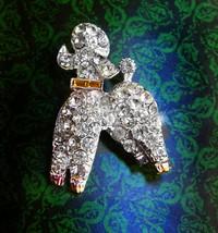 Vintage poodle brooch / bright rhinestones / yellow baguette collar / si... - $75.00