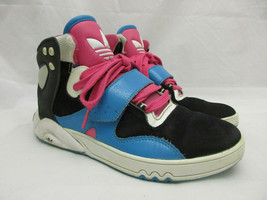 Adidas Hi-Top Trefoil Retro Sneakers Women's Size 6 Black Pink Blue - $27.74