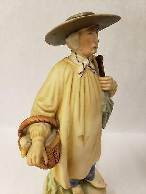 Vintage Porcelain Normandy Peasant Man with Basket Goose and Umbrella Figurine