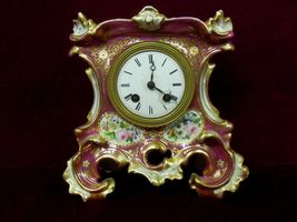 Antique French Clock Rococo Revival Style Gilded Flora Medailles d'or  1844 - $342.00