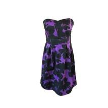 Womens Purple Black Floral Print Strapless A-line Short Dress Sz S/M - $7.92