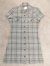 Vintage 90s Dress Black and Brown Plaid A-Line Shirt Dress My Michelle B... - $20.00