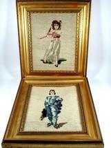 "Vintage Gold Framed Needlepoint Blue Boy and Pink Girl 10""x8"" - $44.55"