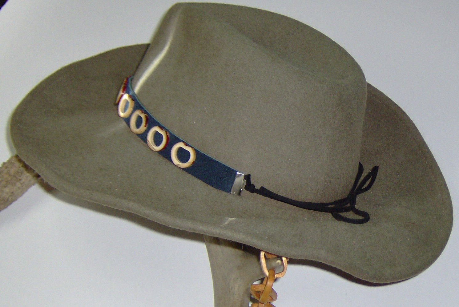 American Made! Bamboo & Leather Hat-Band, Genuine Suede Leather with Bamboo Garn