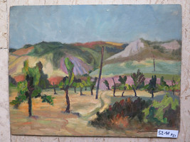 52x40 CM Painting oil landscape Countryside Appennino Emiliano Years 60 P21 - $169.66