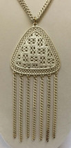 Fringe Pendant Necklace Metal Ivory Colored Triangle Chain Strands Vinta... - $18.80