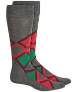 Mens Dress Socks Argyle Grey Red Green Alfani Alfatech 1 Pair $10 - NWT - $3.95
