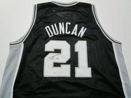 TIM DUNCAN / AUTOGRAPHED SAN ANTONIO SPURS BLACK CUSTOM BASKETBALL JERSEY / COA image 1