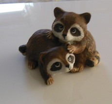 Homco Porcelain Raccoons Playing Made in Mexico  - $24.74