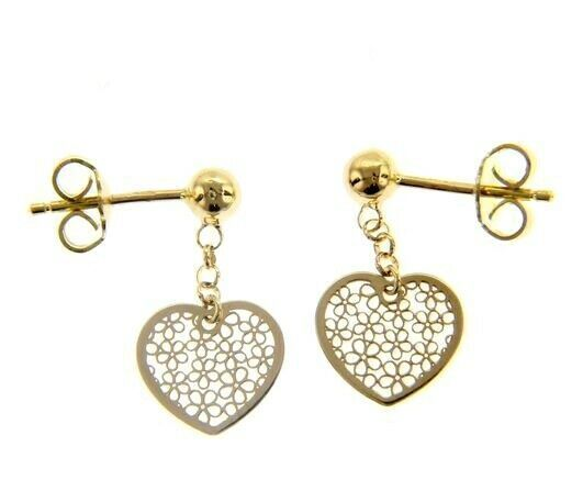 18K YELLOW GOLD PENDANT EARRINGS, FLAT HEART WITH FLOWERS, 20mm, MADE IN ITALY