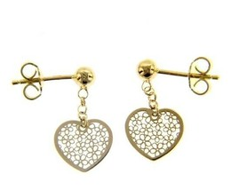 18K YELLOW GOLD PENDANT EARRINGS, FLAT HEART WITH FLOWERS, 20mm, MADE IN ITALY image 1