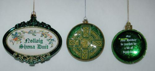Roman Ornamental Cross Bell 3 Piece Christmas Irish Theme Ornament Set