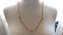 VTG Monet Designer Gold Plated Chain Necklace Knots Foil Weave Lobster C... - $29.69