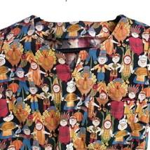 Thanksgiving XS Pilgrims Turkey Scarecrows Indians Scrub Top - $14.84