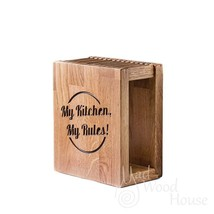 Handmade wooden knife block from oak is the best storage for your differ... - $99.00