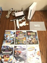 Nintendo Wii Sports Console Bundle White RVL-001 6 Games Star Wars Marvel Party - $123.74