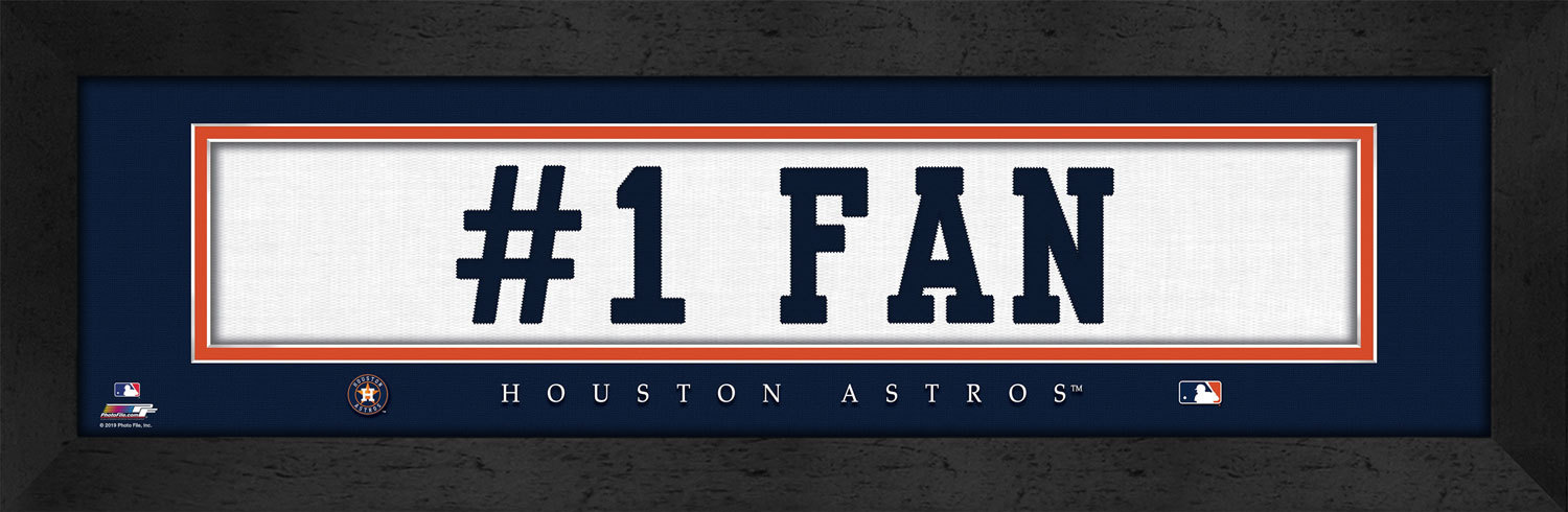 "Houston Astros ""#1 Fan"" 8 x 24 Slogan Stitched Jersey Framed Print"