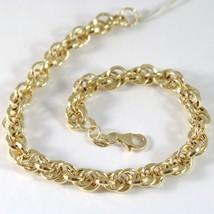 Yellow Gold Bracelet 750 18k rings, Circles Braided, 20.5 cm length image 1