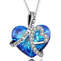 OCEANS HEART Valentines Gift Necklace Pendant w Authentic SWAROVSKI CRYSTAL - $12.73