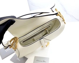 BRAND NEW Authentic Christian Dior White Saddle Trotter Leather Shoulder Bag  image 7