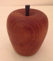 Vintage Turned Wood Apple Solid Rustic Decor Iron Stem Country Brown Han... - $19.34