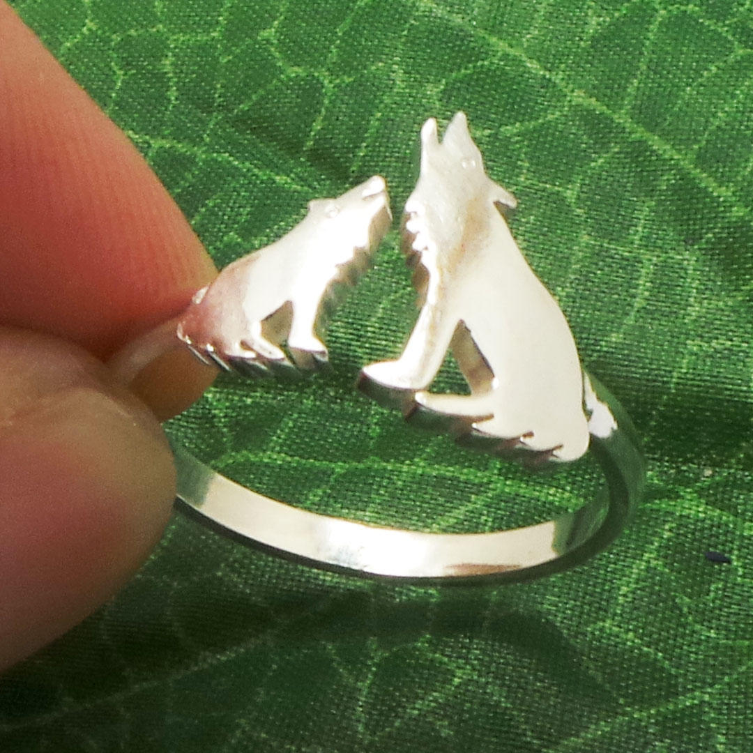 Silver Mother and Child Wolf Ring