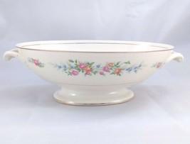 Homer Laughlin Eggshell Georgian F44N5 Footed Oval Bowl Floral Pattern - $21.95