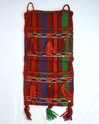 Vintage Wool Hand Knit Indian Blanket Rug Wall Hanging Storage Tapestry Folk Art
