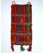 Vintage Wool Hand Knit Indian Blanket Rug Wall Hanging Storage Tapestry ... - $34.64