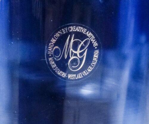 Margie's Garden Blue Hand Blown Art Glass Vase With Original Label