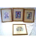 Vintage Degrazia Prints Set of 4 Los Ninos, Angel Music, Hanukkah, Drumm... - $49.99