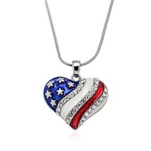 PammyJ Red White Blue American Flag Heart Necklace, 17.5 inches - $24.09