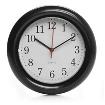 Classic Black Round Wall Clock White Face Kitchen Living Room Home Time New - $13.29