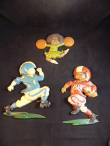 Vintage 1976 Homco Decorative Wall Hanging Kids Playing Football & Cheerleader - $29.69