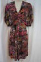Maggy London Dress Sz 8 Black Magenta Multi Business Cocktail Casual Dress - $49.44