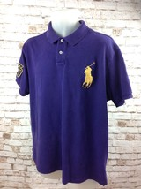 Mens Purple POLO RALPH LAUREN Big Pony Logo S/S Polo Shirt Golf 2XL Cust... - $34.95
