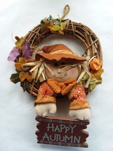 "8"" Fall Decoration Wood Door Wall Wreath Thanksgiving Decor Fall Happy A... - $7.91"