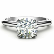 1.50Ct Round Cut VVS1 White Solitaire Diamond Engagement Ring in 14K Whi... - £197.70 GBP