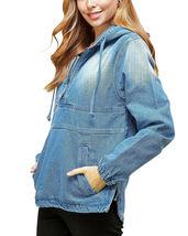 Women's Cotton Casual Hoodie Half Zip Pullover Denim Jean Jacket - M image 3