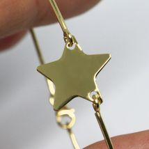 18K YELLOW GOLD BANGLE MINI BRACELET, SEMI RIGID, FLAT STAR, MADE IN ITALY image 3
