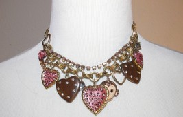 Betsey Johnson Jungle Book Monkey Chetah Heart Charm Statement Necklace th - $100.00