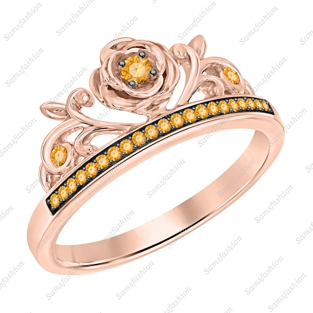 Primary image for Round Cut Citrine 14k Rose Gold Over .925 Silver Rose Flower Anniversary Ring