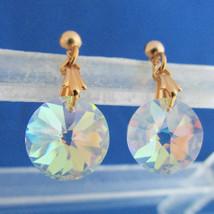 Vintage AB Crystal Rivoli Pendant Earrings Gold Plated Pierced Dainty A+... - $13.49